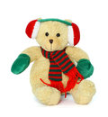 Toy sitting bear isolated on white Royalty Free Stock Photos