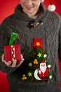Toy snake in giftbox man knitted sweater showing open Royalty Free Stock Photos