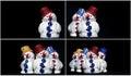 Toy snowman on black set Royalty Free Stock Photo