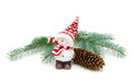 Toy snowman and fir cone on a branch isolated on a white backgro background close up horizontal photo Royalty Free Stock Images