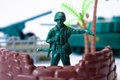 Toy soldier at the base guarding on white background Stock Image