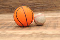 Toy sport balls on wood background Stock Images