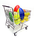 Toy Sports Balls in Cart Royalty Free Stock Photo