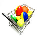 Toy Sports Balls in Cart Royalty Free Stock Images