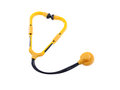 Toy stethoscope isolated yellow and black Royalty Free Stock Image