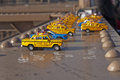 Toy Taxis on Brooklyn Bridge Beam Royalty Free Stock Photo