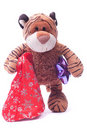 Toy  tiger with gifts Royalty Free Stock Images