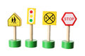 Toy traffic signs on white background Stock Image