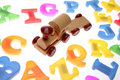 Toy train & alphabet letters Stock Images