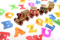 Toy train & alphabet letters Royalty Free Stock Image