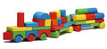 Toy train goods van, wooden blocks cargo railway transportation Royalty Free Stock Photo