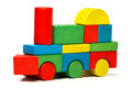 Toy train, multicolor locomotive wooden blocks transport Royalty Free Stock Photo
