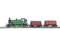 Toy train with trucks studio isolated on white Royalty Free Stock Photography