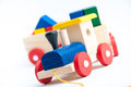Toy train wooden on white background Royalty Free Stock Photography
