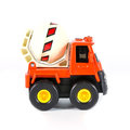 A toy truck concrete mixer on white background Stock Photo