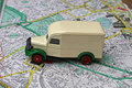 Toy truck on map Royalty Free Stock Photo