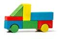 Toy truck, multicolor car wooden blocks transport
