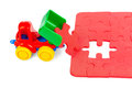 Toy truck with puzzle Royalty Free Stock Photo