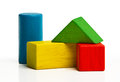 Toy wooden blocks multicolor bricks building construction over white background Stock Photo