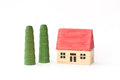 Toy wooden house ed alberi Fotografie Stock Libere da Diritti