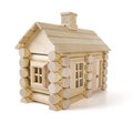 Toy wooden house isolated on white, little cottage home of wood Royalty Free Stock Photo