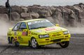 Toyota corolla rallycar at aifs tjarnagrill rally competition in iceland Royalty Free Stock Images