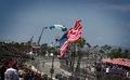 Toyota grand prix of long beach parachute with a big flag the united states landing during the totoya Royalty Free Stock Images