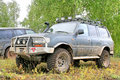 Toyota land cruiser alkino russia september japanese motor car takes part at the annual open air motor show autumn drive Stock Photography