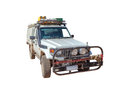 Toyota landcruiser x vehicle off road safari isolated on white background front view Royalty Free Stock Images