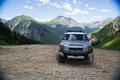 Toyota on the mountains silver cruiser Royalty Free Stock Photos