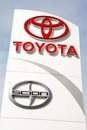 Toyota and scion sign a motor corporation at a car dealership reached a billion settlement with the u s government that ended a Stock Image