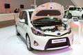 Toyota yaris hybrid at istanbul autoshow on november in istanbul turkey Royalty Free Stock Images