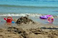 Toys on the beach fish ball and other a sunny day Royalty Free Stock Image