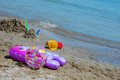 Toys on the beach fish ball and other a sunny day Stock Photography