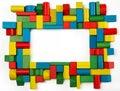 Toys blocks frame, multicolor wooden building bricks, group of c