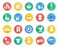 Toys and children icons vector set