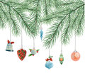 Toys on christmas tree vector this is file of eps format Royalty Free Stock Photo
