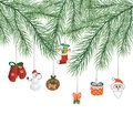 Toys on christmas tree vector this is file of eps format Royalty Free Stock Image
