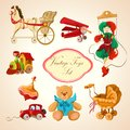 Toys colored drawn icons set decorative children sketch of horse airplane puppet train isolated vector illustration Royalty Free Stock Images