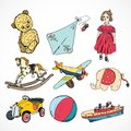 Toys colored sketch icons set decorative children of steamship kite rocking horse ball isolated vector illustration Stock Photos