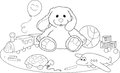 Toys coloring page Royalty Free Stock Images