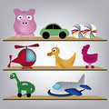 Toys eight different kind of with colors for kids Stock Image