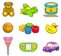 Toys icon set a vector collection of for kids best for kids gifts childhood learning concept Stock Images