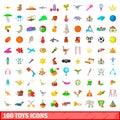 100 toys icons set, cartoon style