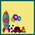 Toys for kids colored including a rocket soccer ball car balloons in a yellow background Royalty Free Stock Images