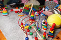toys in kids room on the floor Royalty Free Stock Photo