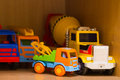Toys in a kindergarten on a shelf Royalty Free Stock Images