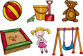 Toys objects cartoon illustration set of for children clip arts Stock Photography
