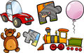 Toys objects cartoon illustration set of for children clip arts Royalty Free Stock Image