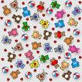 Toys Pattern. Teddy Bears, Rabbits, balls and heart